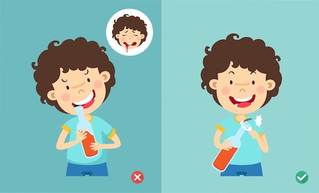 Maneiras erradas e certas de abrir a garrafa com a ilustração dos dentes,