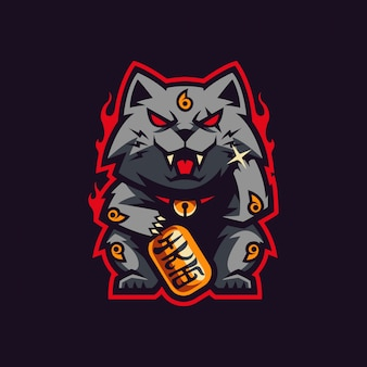 Maneki neko mascote e logotipo de jogos