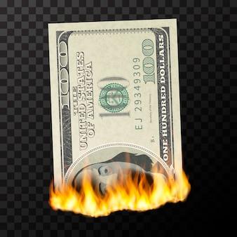 Manequim ardente de notas de cem dólares dos eua com chamas de fogo