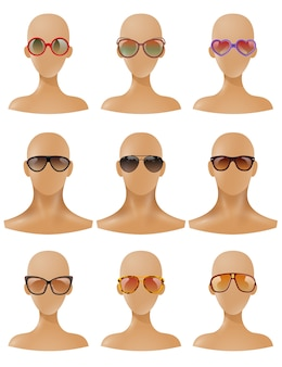 Manequins heads display sunglasses set realista