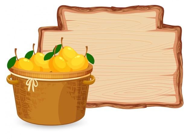 Manga na cesta na placa de madeira
