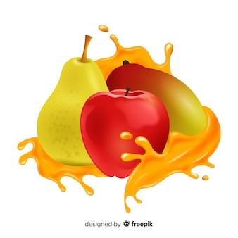 Manga realista com frutas tropicais