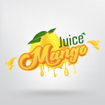 Mango juice brand company vector design de logotipo