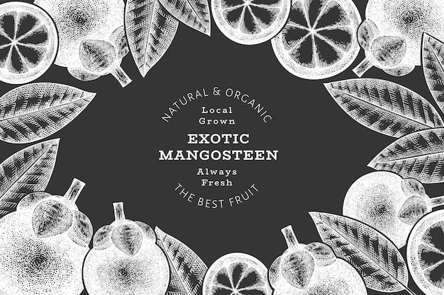 Mangostão de estilo de esboço desenhado de mão. alimentos orgânicos frescos no quadro de giz. fundo retrô de frutas.