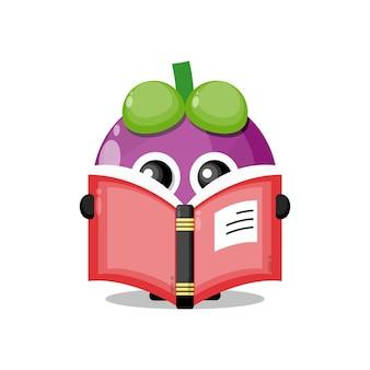 Mangostão lendo um livro mascote do personagem fofo