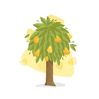 Mangueira plana com frutas e folhas ilustradas