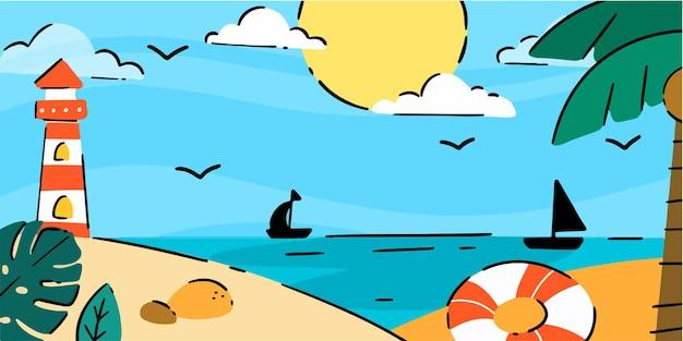 Manhã calma na costa do mar - ilustração exclusiva do doodle