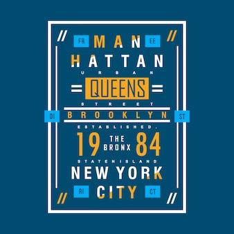 Manhattan tipográfico para impresso camiseta