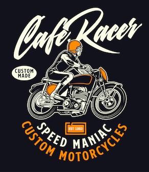 Mania de motocicletas personalizado de piloto de café