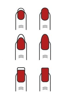 Manicure com esmalte vermelho conjunto de ícones.