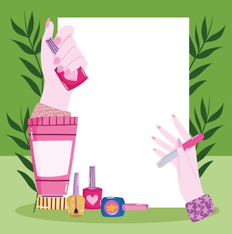 Manicure com mãos e ferramentas