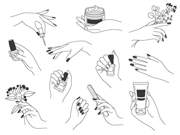 Manicure e cuidados da mão. logotipos femininos para cosméticos para unhas e salão de beleza spa. as mãos pintam, lixam as unhas, segurando o esmalte e o creme, conjunto de vetores. fazendo manicure com esmalte, loção