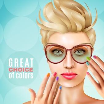 Manicure modelo feminino fundo