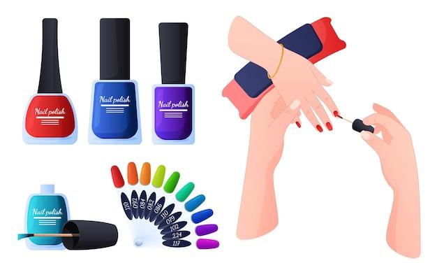 Manicure o mestre aplica paleta de cores de esmalte colorido para ilustração de manicure