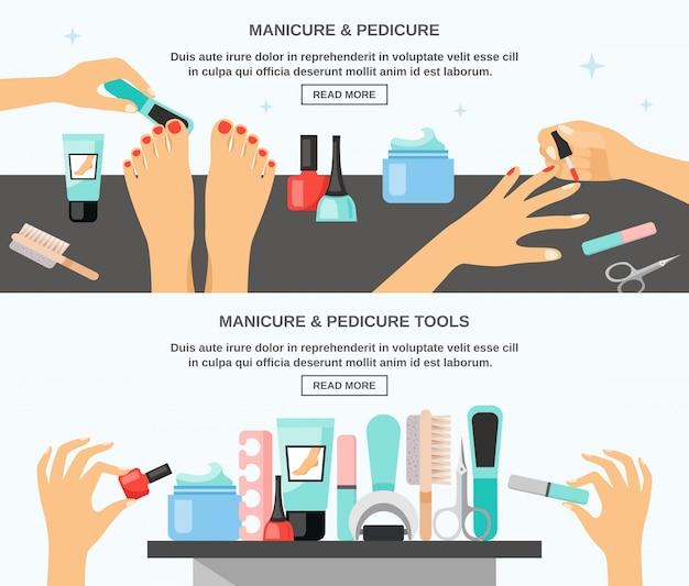 Manicure pedicure acessórios flat banners