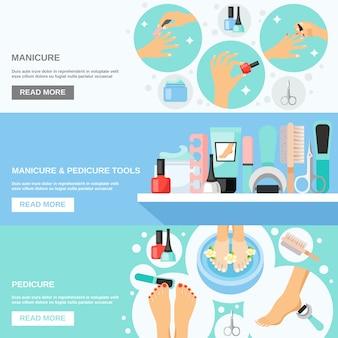 Manicure pedicure ferramentas flat banners