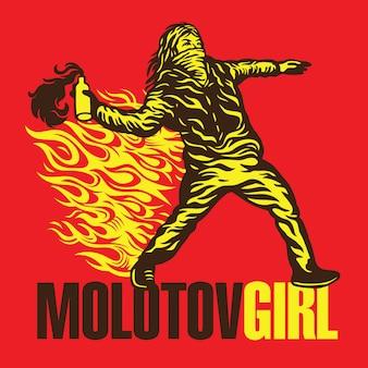 Manifestante ativista das meninas da bomba de coquetel molotov