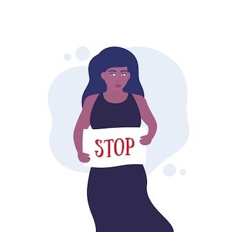 Manifestante, mulher ativista com cartaz de parada, vetor