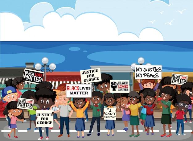 Manifestantes anti-racismo com raiva na rua