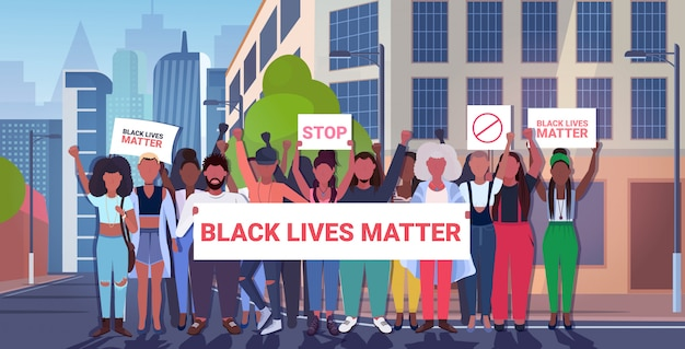 Manifestantes com vidas negras importam banners campanha de conscientização contra a discriminação racial