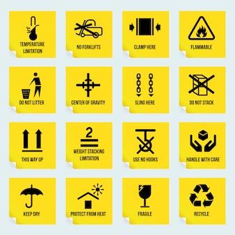 Manipulação e embalagem autocolantes amarelos definido com limitação de temperatura inflamável sem símbolos de pilha ilustração vetorial isolado