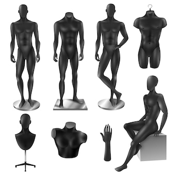 Mannequins men realistic black image set
