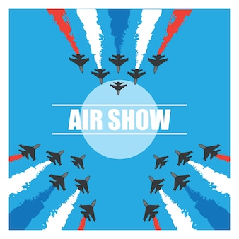 Manobra de um avião de combate no céu azul para exibição de exibição aérea. ilustração vetorial
