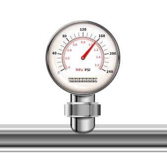 Manômetro realista brilhante com tubo de cromo brilhante isolado em branco