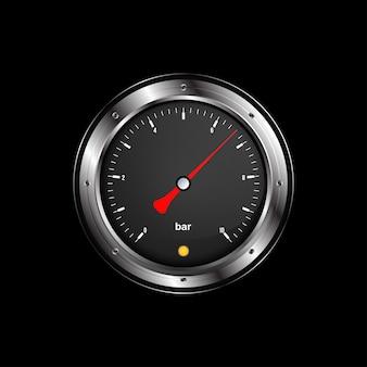 Manômetro realista para medir a pressão na cor preta e metal.