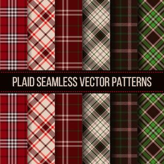 Manta de lenhador, seleção de búfalo, conjunto de padrões sem emenda de guingão. pano têxtil da moda, tecido xadrez, ilustração vetorial