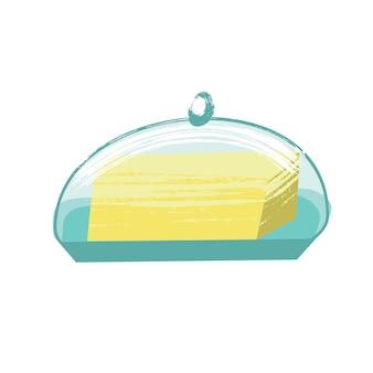 Manteiga. ilustração em vetor em estilo simples, com textura desenhada à mão única. sobre fundo branco.