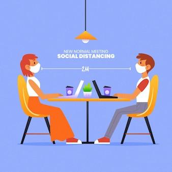 Mantendo a distância em uma reunião