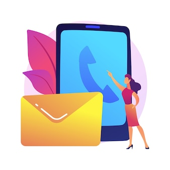 Mantendo contato. meios de comunicação modernos, telefonemas, cartas e e-mails. pessoa que entra em contato com amigos e clientes por e-mail, incentivando comentários
