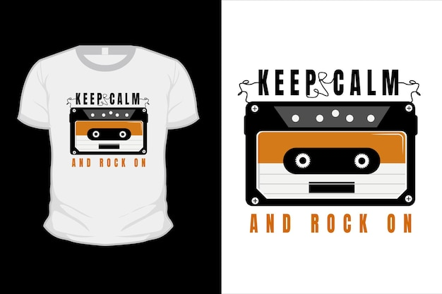 Mantenha a calma e rock no design de camisetas tipográficas com fita cassete de rádio
