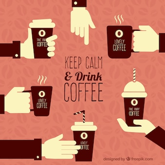 Mantenha a calma e tomar café