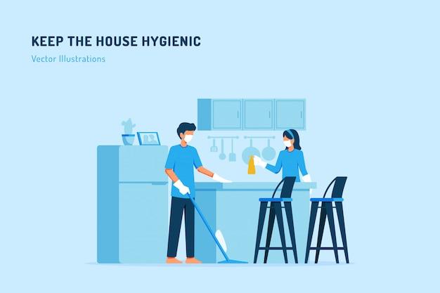 Mantenha a ilustração higiênica da casa