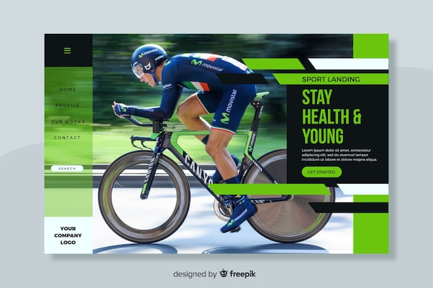 Mantenha a página de destino do esporte saudável com foto