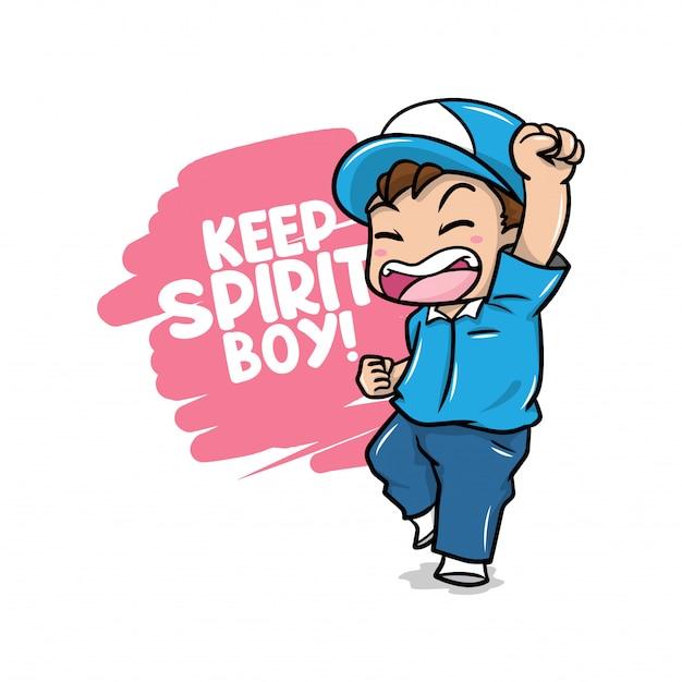 Mantenha citações & ilustração do menino do espírito