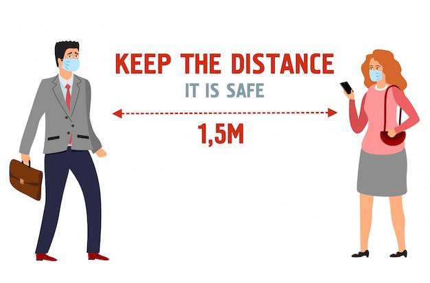 Mantenha distância. cartaz informativo. prevenção e proteção contra vírus. homem e mulher na ilustração de máscaras protetoras
