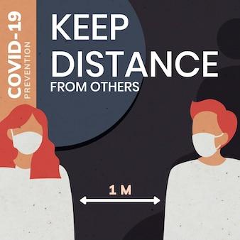 Mantenha distância dos outros modelo de mensagem de prevenção covid-19