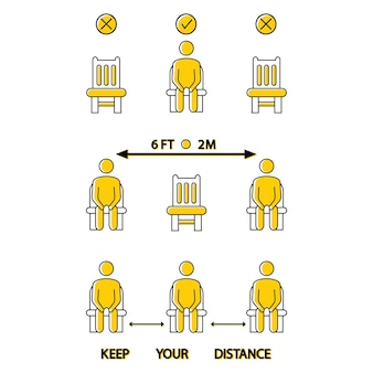 Mantenha distância. não se sente aqui. ícone proibido para assento. distanciamento social de 6 pés ou 2 metros para assento da cadeira. regra de bloqueio. mantenha distância quando estiver sentado. homem na cadeira. vetor