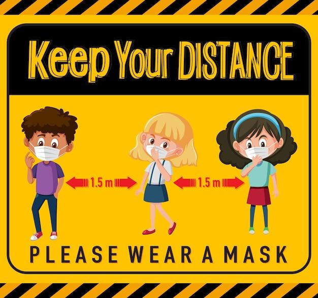 Mantenha distância ou sinal de distanciamento social com personagens infantis de desenhos animados