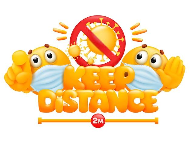 Mantenha o banner de distância com dois personagens de desenhos animados emoji amarelos.