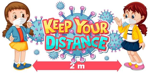 Mantenha o design da fonte à distância com duas crianças mantendo distância social isolada no fundo branco