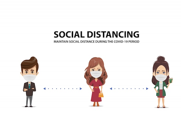 Mantenha o distância social durante o período covid-19. pare coronavirus.
