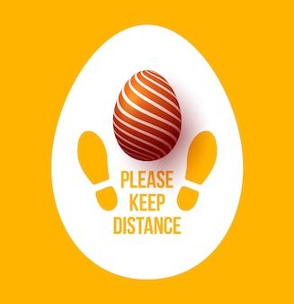 Mantenha o seu formato de sapato de pegada de sinal de distância com ovo de páscoa