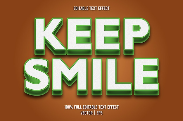 Mantenha o sorriso no estilo de desenho animado com efeito de texto editável