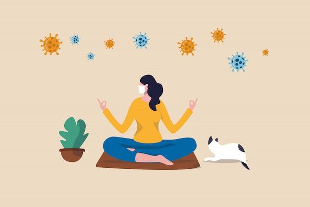 Mantenha-se calmo em casa meditando ou praticando ioga no auto-isolamento social do distanciamento no conceito de bloqueio de surto de coronavírus covid-19, mulher medite e ioga em casa para manter a calma, vírus covid-19 ao redor.