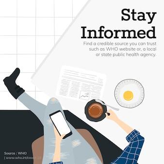 Mantenha-se informado e obtenha os fatos durante o surto de coronavírus fonte modelo social vetor da oms