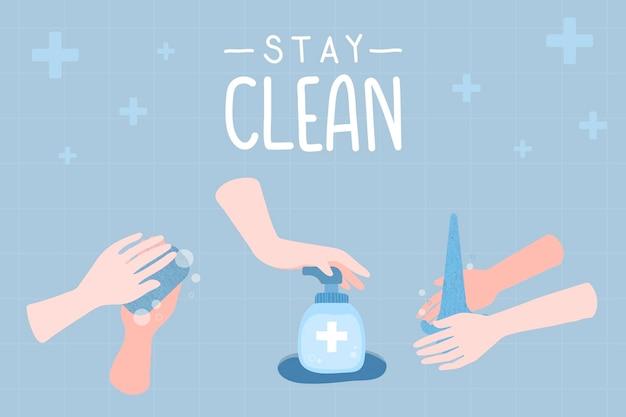 Mantenha-se limpo ilustração covid
